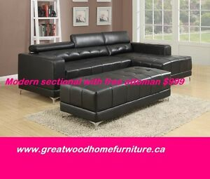 BRAND NEW AIR LEATHER SECTIONAL WITH OTTOMAN...$999