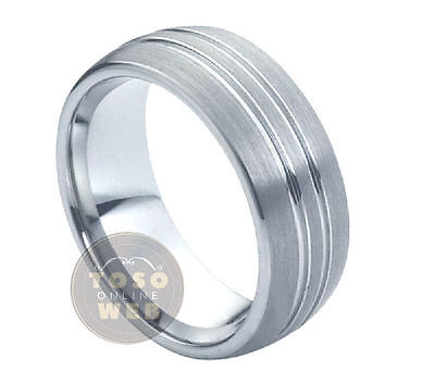 Men's 8mm Semi-Dome Tungsten Ring w/ Double Grooved over Brushed Center TS0320 Over Tungsten Mens Ring