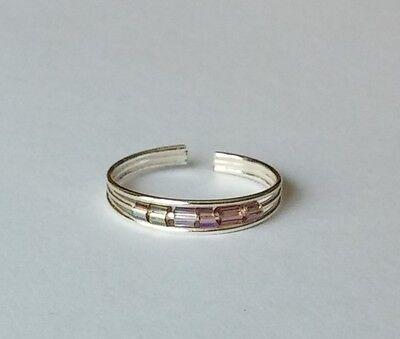 Silver Purple Beaded Adjustable Toe Ring New!