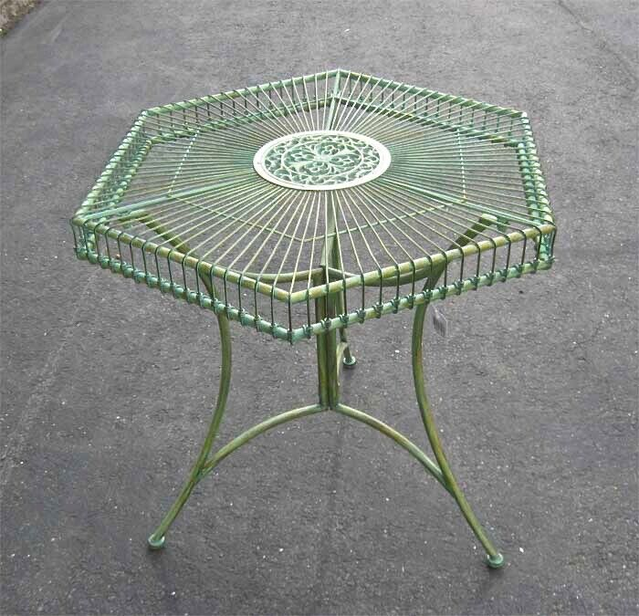 Garden Patio Table Hexagon Shaped Antique Green - Iron