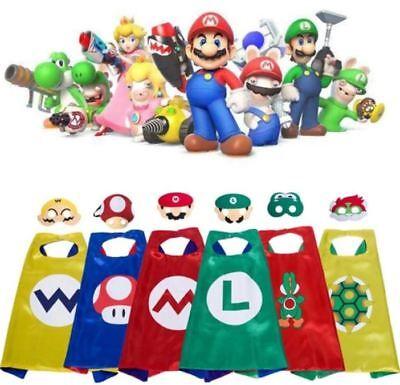 Super Mario & Luigi Bros Costume Cape & Mask Set -Yoshi Bowser Wario Toad Luigi ()