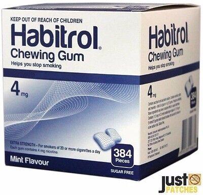 Habitrol Nicotine Gum 4mg Mint Flavor 384 Pieces 1 Large Bulk Box Quit Smoking