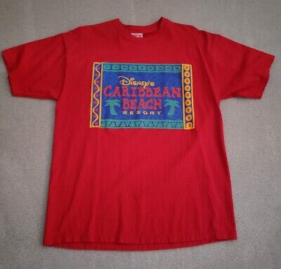Mickey Inc. Disney's Caribbean Beach Resort Red Vintage T-Shirt Size Large