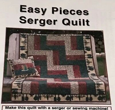 "(EASY PIECES SERGER LAP & PILLOW  QUILT Pattern SERGE BLOCKS EZ 34""x52"")"