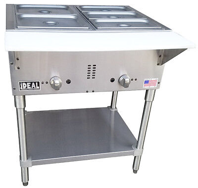 Commercial Gas 2 Well Aerohot Steam Table. Made In Usa By Ideal. Etl Listed.