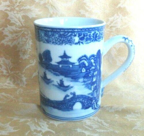 Chinese Blue White Porcelain Large Mug ~ Pavilion Bridge And Boats Scene