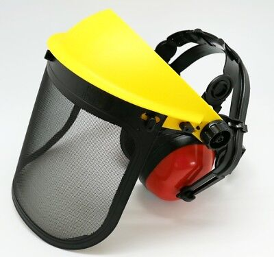 Face Shield Steel Mesh Adjustable Visor Ear Muffs Set Safety Garden Trim
