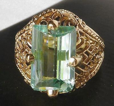 14k Gold Vintage Art Deco Style Fantasy Emerald Cut Aquamarine Filigree Ring~Sz6 Aquamarine Art Deco Ring