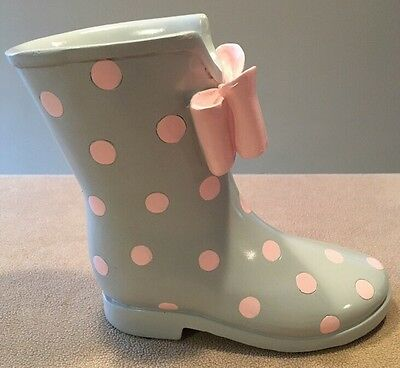 "Rain Boot Shaped Coin Bank Gray with Pink Polkadots 7.5""Tall Great!!"