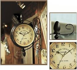 Vintage Double Sided Wall Clock Hallway Garden Station Double Faced Wall Clock