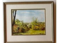 "Watercolour painting ""On Castle Hill"", Burley, New Forest, by local artist H.M.Norman signed 6/94."