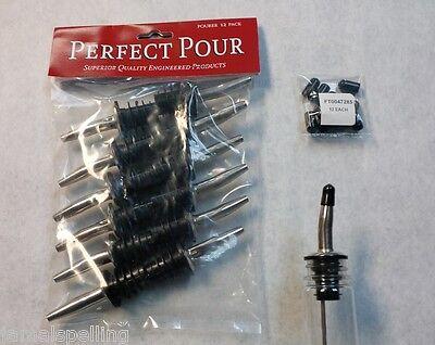 как выглядит Барный аксессуар 12 Metal POUR SPOUTS & FREE DUST CAPS Chrome Liquor Bottle Flair Pourers  285-50 фото