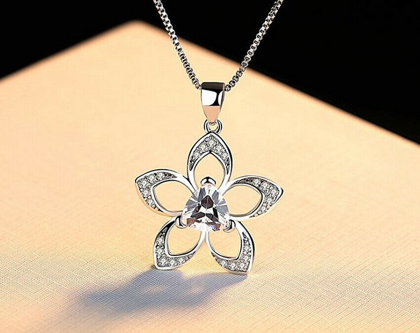 Jewellery - Crystal Flower Pendant Necklace 925 Sterling Silver Chain Womens Jewellery Gift