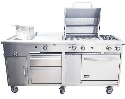 "New. Food Cart 72"". All in one, Griddle, Fryer, Oven, Grill,"