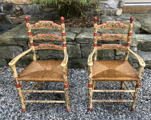 Charming antique pr Sicilian hand painted rush seat diminutive  armchairs c1850