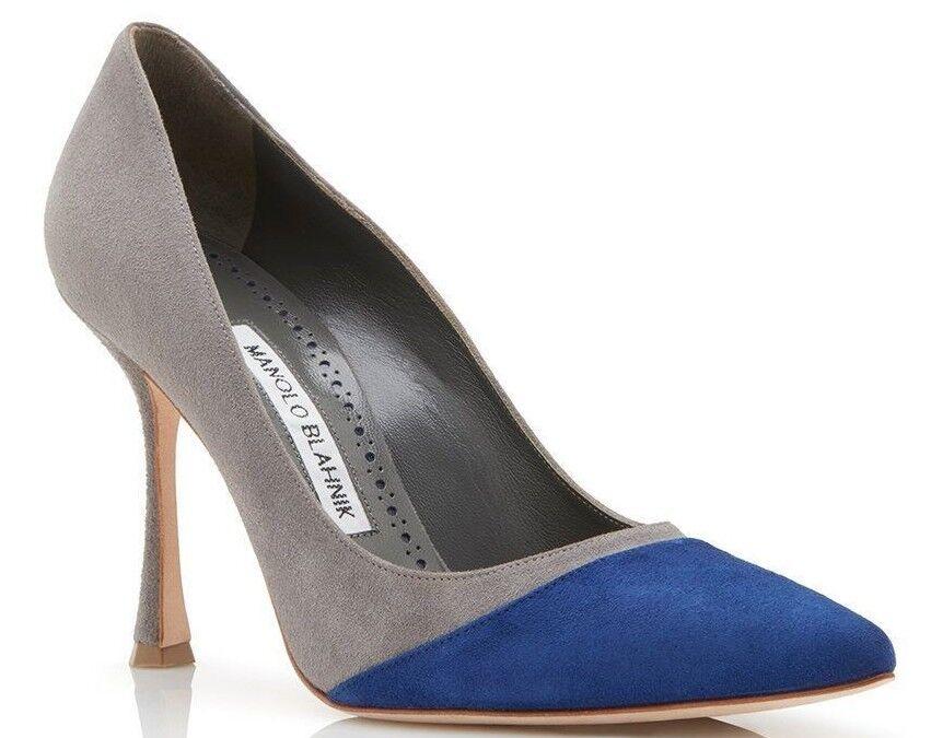 $825 NEW Manolo Blahnik BILANDANA BB Suede Grey Blue Pumps Heels Shoes 39 41.5  1