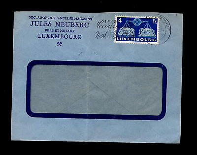 LUXEMBURG 1951 COVER EUROPE PAIX 4Fr Blue SOLO FRANKING