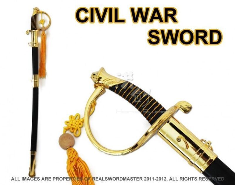 "Full Size 39"" Civil War CSA Confederate Cavalry Officer Sword Saber Gold C.S.A."