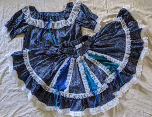 Square Dance Dress OUTFIT Skirt Blouse Corset Belt Man Tie Paisley Twirl Sz M/L