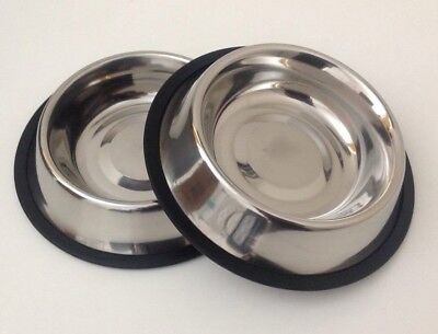 2 X Pet Food/Water Bowl/Dish-Cat/Dog-Anti-skid/Rubber-Stainless Steel 16 Oz