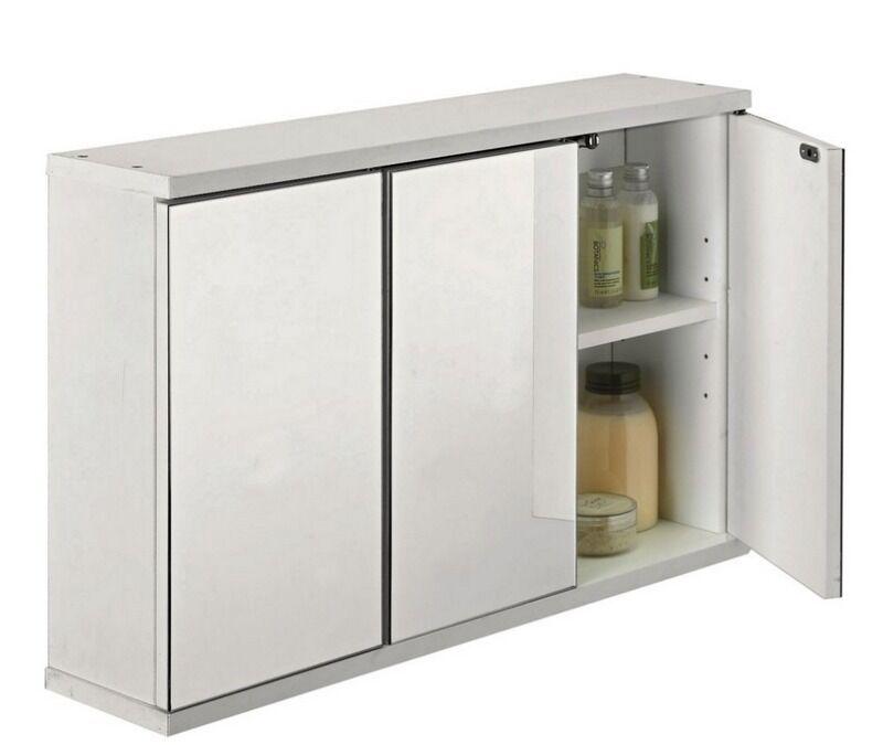 Argos 3 Door Mirrored Bathroom Cabinet White Adjule Shelves