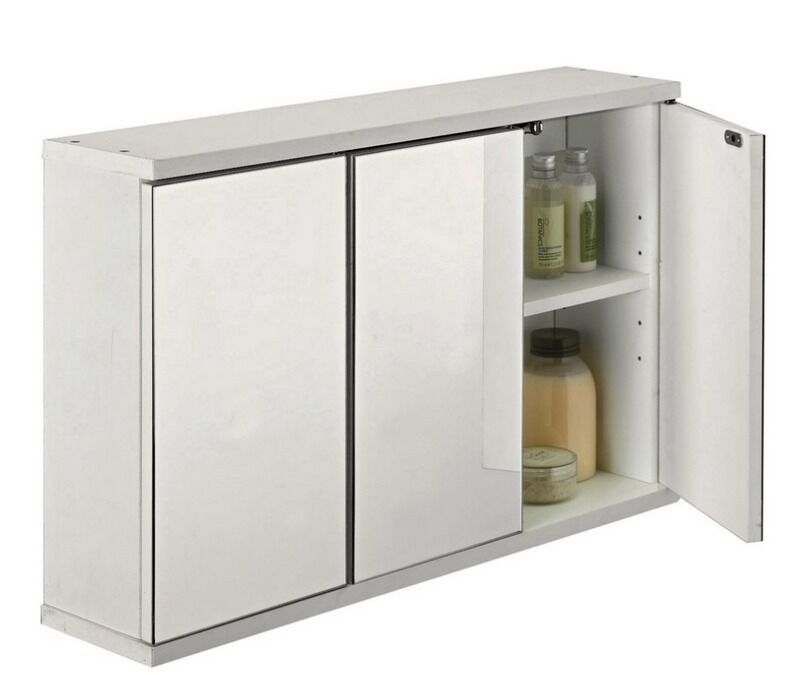 Argos 3 Door Mirrored Bathroom Cabinet White 3 Adjustable Shelves