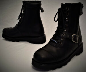 Bottes HARLEY Homme Taille 7 Cuir Lacé-Zip une Courroie 105$ ZV