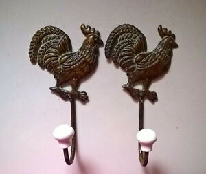 Wrought Iron Metal Rooster Coat Hooks