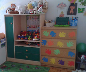 Cabinet with shelves for toys