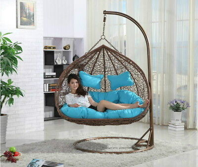 Cushioned Swing - Hanging Rattan Double Swing Chair with Cushion & Stand Rattan (ORANGE CUSHIONS)