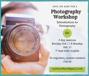 Local Photography Workshop. 2 Monday Nights Oct 23 and Oct 30
