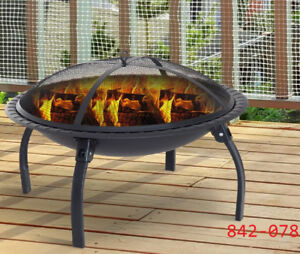 Round Firepit with Poker and Spark Screen – Black