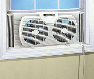 Dual Blade 9-Inch Twin Window Fan with Cover Portable, White