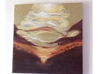 Abstract Wall Art; Golden Sunset an Original Canvas 90 x 90cm Hand Painted
