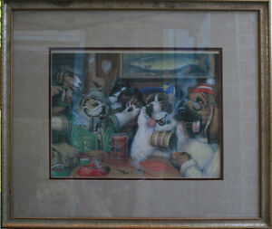 Dogs In Pub Art Print, framed glass Kitchener / Waterloo Kitchener Area image 1