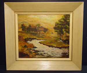 ORIGINAL OIL Impressionist Style Country Stream SIGNED M TICE