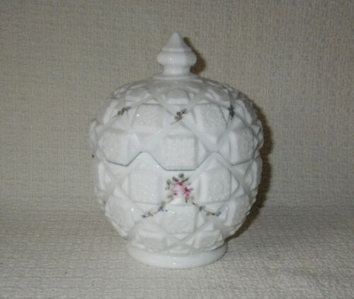 Westmoreland OLD QUILT White Milk Glass Candy Dish Jar Hand Painted Pink Roses