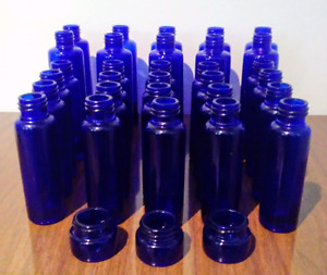 30 Vintage COBALT Blue GLASS BOTTLES Antique