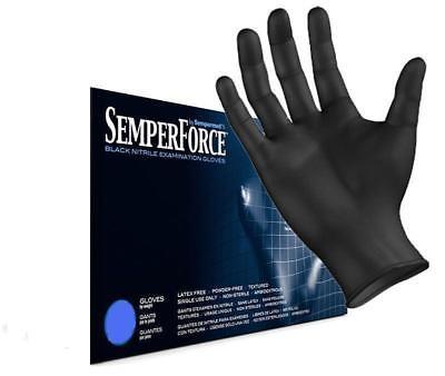 SemperForce Black Nitrile Exam Tattoo Gloves, Powder Free, Sizes S-XXL