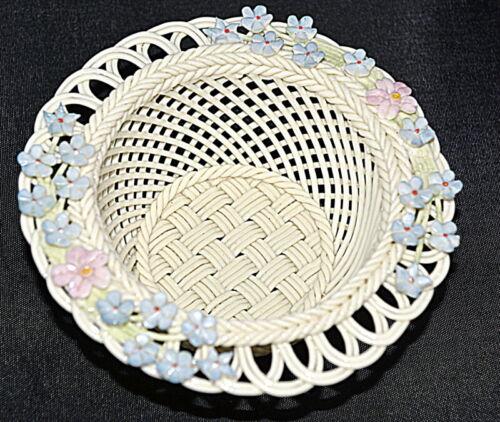 BEAUTIFUL Belleek Flowers Basket fine Basket Weave HAND WOVEN #S