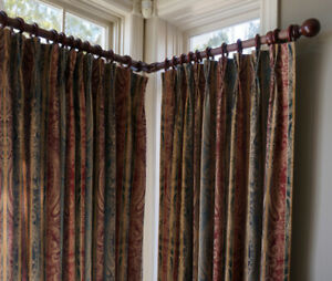 Curtains  (drapes + rods and hardware) -  like new