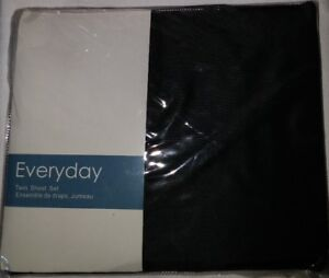 NEW Everyday Black Twin Sheet Set - Flat, Fitted, Pillow Case