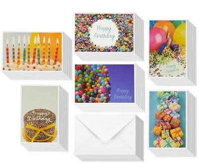 48 Pack Happy Birthday Greeting Cards 6 Photos Party Elements Bulk Box Variety