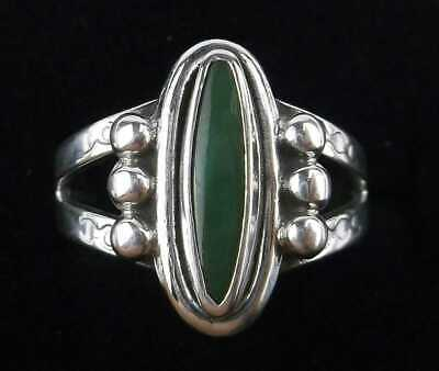 1940s Jewelry Styles and History Vintage ring Navajo sz 4.5 green turquoise 1940s $70.00 AT vintagedancer.com