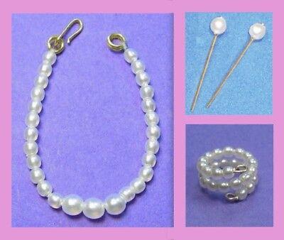 Barbie Dreamz WHITE Graduated Pearl NECKLACE EARRINGS BRACELET LOT Vintage REPRO