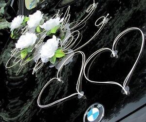 Brautauto Dekoration Autoschmuck Hochzeitsauto Schmuck Autodeko Set12 weiß