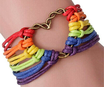 LGBT Pride Rainbow - Heart Braided Bracelet