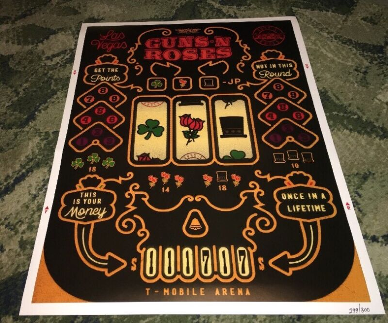 Guns and Roses Las Vegas, Nevada Nov 17 2017 Slot Machine #xxx/300 Poster