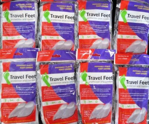 Travel Feet 9760 Disposable Non-Skid Clear Foot Covers TSA Approved 8(2PKS)