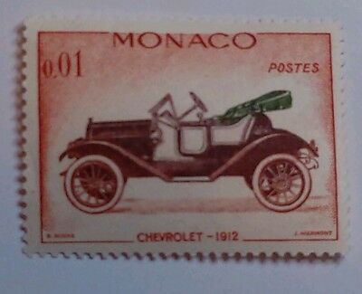 MONACO POSTAGE STAMP-SCOTT 485-CHEVROLET 1912-MULTI COLOR-MINT/NH/ORIGINAL GUM
